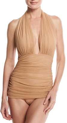 Norma Kamali Bill Ruched-Mesh Halter Maillot Swimsuit, Camel $385 thestylecure.com