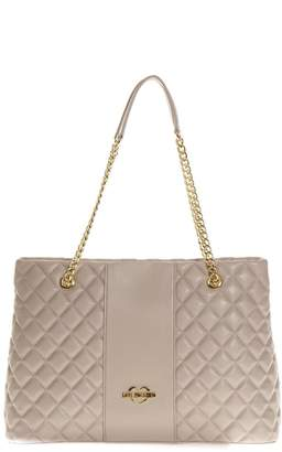 Love Moschino Dove Quilted Shopping Bag In Faux Leather