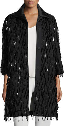 Marc Jacobs Button-Front Paillette Oversized Wool Coat