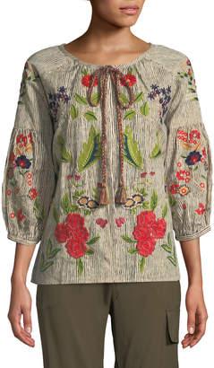 Velvet Delfine Embroidered Striped Cotton-Linen Top