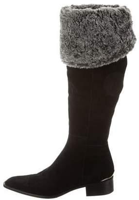 Aquatalia Faux Fur-Trimmed Knee-High Boots