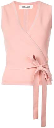 Diane von Furstenberg wrap front sleeveless blouse