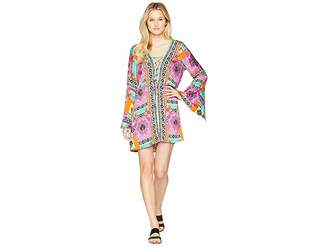 Green Dragon Tribal Mosaic Waikiki Split Sleeve Lace-Up Tunic Cover-Up Women's Swimwear