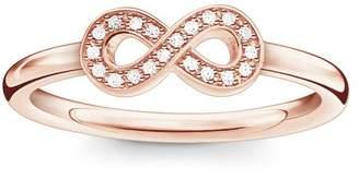 Thomas Sabo Infinity Gold Plated Rose Gold/White Diamond Ring Size - P