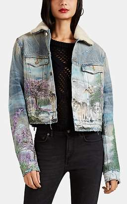 Amiri Women's Shearling-Trimmed Airbrushed Denim Trucker Jacket - Blue