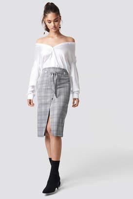 Na Kd Trend Eyelet Wrap Checkered Skirt Checkered