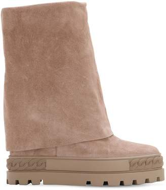 Casadei 100mm Suede Wedge Platform Boots