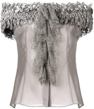 Alberta Ferretti off-the-shoulders ruffled blouse