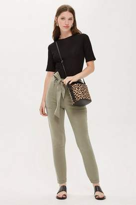Topshop Womens Petite Popper Utility Trousers