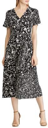 Ralph Lauren Floral-Print Faux-Wrap Midi Dress