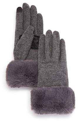 Echo Faux Fur-Cuff Tech Gloves