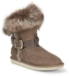Australia Luxe Collective Tsar Short Dyed Shearling & Natural Fox Fur Trim Boots