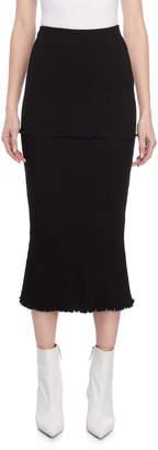 Ellery Black Tiered Ribbed Midi Skirt