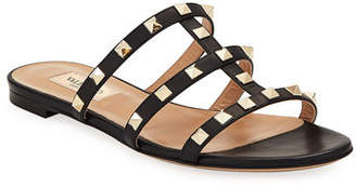 Valentino Rockstud Caged Flat Slide Sandals