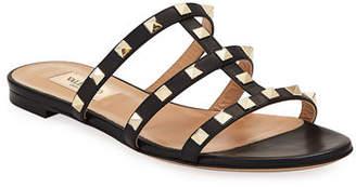 Valentino Rockstud Caged Flat Slide Sandal