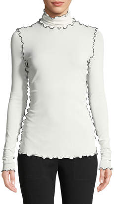 Proenza Schouler Turtleneck Long-Sleeve Wavy-Topstitch Stretch Crepe Jersey Top