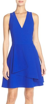 Women's Adelyn Rae Asymmetrical Crepe Fit & Flare Dress $92 thestylecure.com