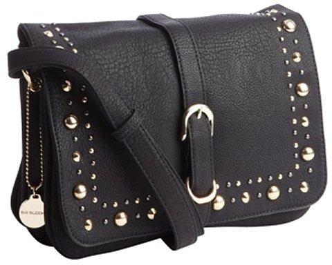 Big Buddha black leather 'Eleanor' shoulder bag