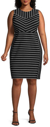 Bold Elements Sleeveless Stripe Bodycon Dress-Plus