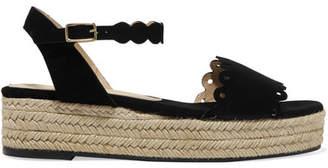 Castañer - Ana Scalloped Suede Espadrille Platform Sandals - Black $210 thestylecure.com