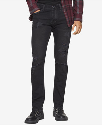 Calvin Klein Jeans Men's Slim-Fit Ripped Black Jeans $89.50 thestylecure.com