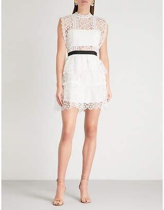 Self-Portrait Belted guipure-lace mini dress