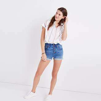 High-Rise Denim Boyshorts: Button-Through Edition $74.50 thestylecure.com