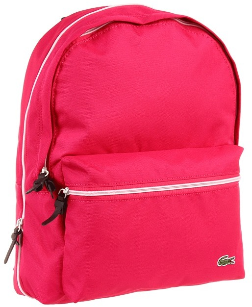 Lacoste Backcroc Medium Backpack (Fuschia Pink) - Bags and Luggage