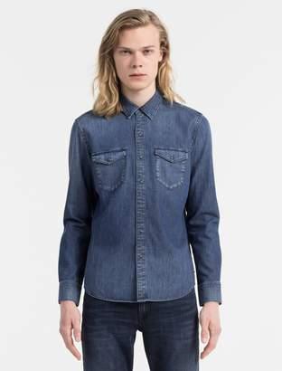 Calvin Klein slim fit denim long sleeve shirt