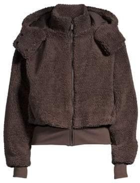 Alo Yoga Foxy Faux-Sherpa Hooded Bomber Jacket