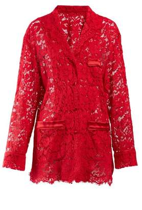 Dolce & Gabbana Floral Lace Pyjama Top - Womens - Red