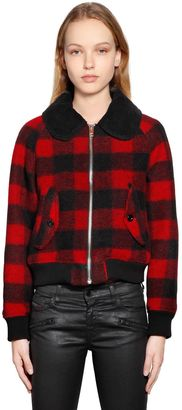 Check Boiled Wool Jacquard Jacket $377 thestylecure.com