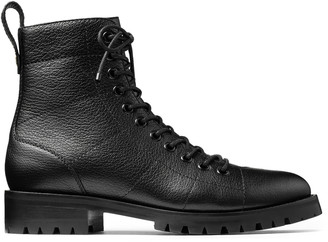 Jimmy Choo CRUZ FLAT Black Grainy Leather Combat Boots