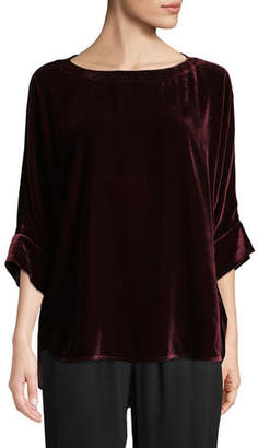 Eileen Fisher Dolman-Sleeve Velvet Top, Plus Size