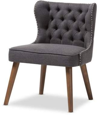 Baxton Studio Scarlett Mid-Century Modern Brown Wood and Dark Grey Fabric Upholstered Button-Tufting with Nail Heads Trim 1-Seater Accent Chair