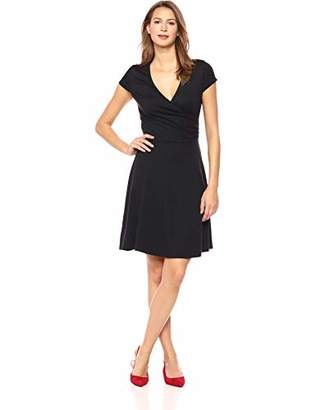 Lark & Ro Women's Cap Sleeve Faux Wrap Fit and Flare Dress