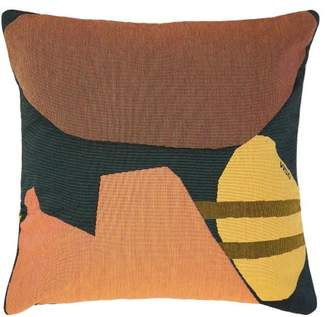 Viso Project - Tapestry Abstract Cotton Cushion - Black Orange