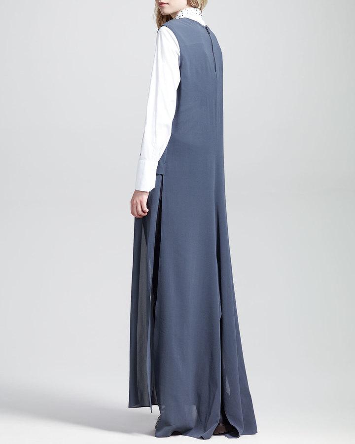Brunello Cucinelli Sleeveless Slit-Front Dress