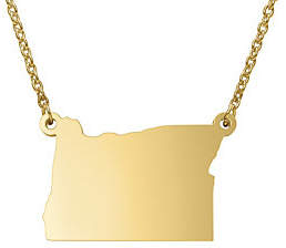QVC State Pendant Necklace, Sterling & 14K Gold Plated