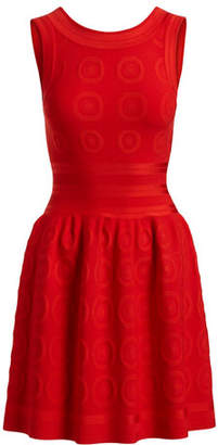 Alaia Sleeveless Fit-and-Flare Circle Jacquard Dress