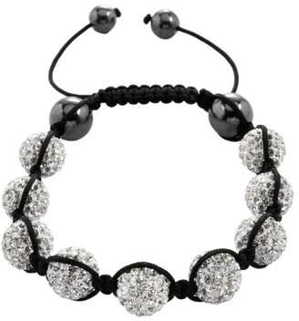 Burgmeister Jewelry Shamballa Bracelet White, Length Adjustable various stones on JBM 1143–598 Fabric Black