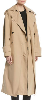 Valentino Double-Breasted Belted Mid-Calf Gabardine Trench Coat