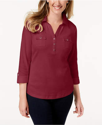 Karen Scott Petite 3/4-Sleeve Cotton Polo, Created for Macy's