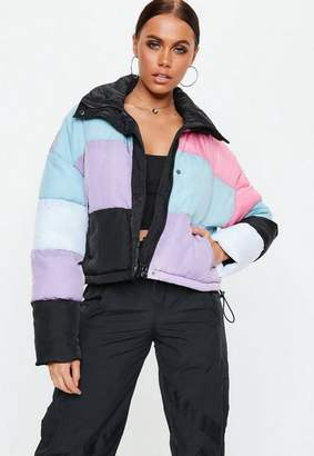 Missguided Black Multi Checkerboard Print Puffer Jacket