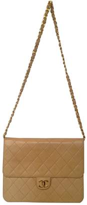 Chanel Vintage Wallet on Chain Beige Leather Handbag