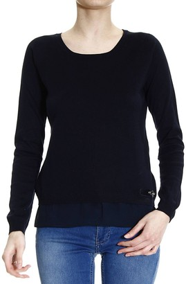 Fay Sweater Knit Crew-neck With Frill Silk E Hook