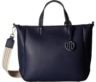 Tommy Hilfiger TH Web Top Zip Tote Double Tote Handbags