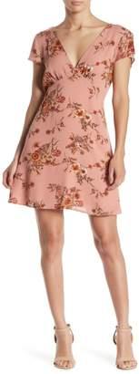 re:named apparel Kelsi Floral V-Neck Mini Dress