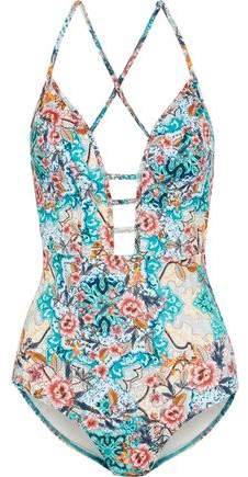 Jets Australia By Jessika Allen Cutout Printed Swimsuit