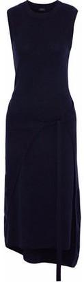 Joseph Jasmine Layered Brushed-Wool Midi Dress
